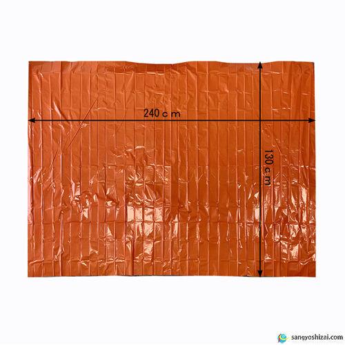 緊急アルミサバイバルシート オレンジ展開図寸法画像