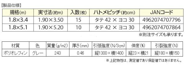 エコ防音シート仕様物性値